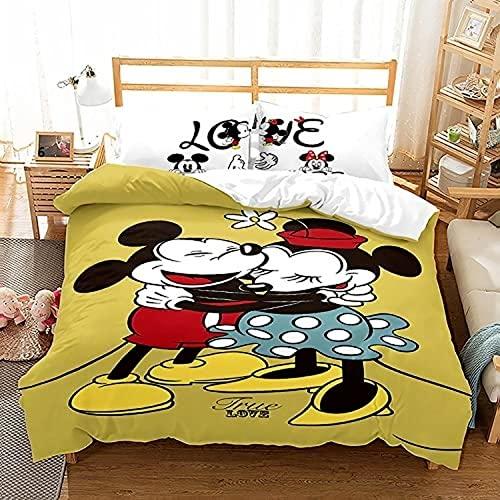 XYQXKG Juego de funda de edredón 3D Anime de Mickey y Minnie, juego de cama de 3 piezas para niños y niñas, microfibra con 2 fundas de almohada (Mickey 10,220 x 240 cm + 80 x 80 cm x 2)