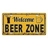 Gazechimp Retro Cartel de Arte de Chapa Metálica de Pared Puerta Deoración de Bar Pub Cafetería Comedor Hotel Casa - Zona de Cerveza