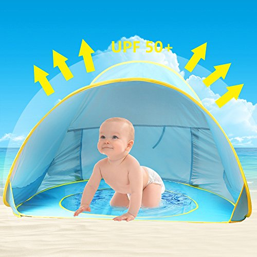 Tienda de Playa para Bebés,Oummit Pop-up Tienda de bebé con Pequeña Piscina Automática plegable...