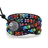 PLTGOOD Boho 3 Wraps Leather Bead Bracelets for Women Men - Handmade 7 Chakra Adjustable Yoga Healing Bracelet Bracelet