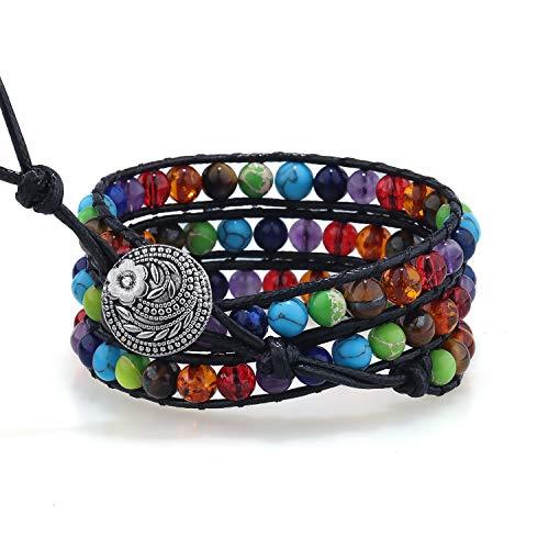 PLTGOOD LuLu 3 Wraps Leather Bead Bracelets for Women Men Handmade 7 Chakra Adjustable Yoga Healing Bracelet Bracelet