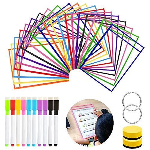 20 Pack Dry Erase Pockets, GuKKK Resuable Dry Erase Pockets Papelería Suministros 35.5×25.5 cm / A4 con Bolígrafos, para la Organización en el Aula y Colegio, Guardería, Oficina