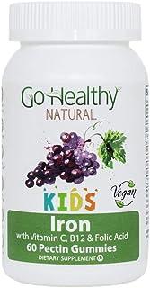 Go Healthy Natural Kids Iron Gummies - Vitamin C, B12, Folic Acid, Vegan, Kosher (U), Halal (60ct) 30