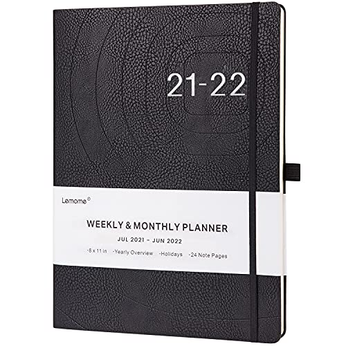 2021-2022 Planner - Weekly, Monthly and Year Planner with Pen Loop, to Achieve Your Goals & Improve Productivity, Thick Paper, Inner Pocket, 8.5' x 11', Black