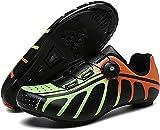 KUXUAN Fahrrad Schuhe Herren Rennrad Kompatible SPD Bike Cleats Schuhe Indoor Fitness Fahrradschuhe,Green-43EU/9UK/9.5US