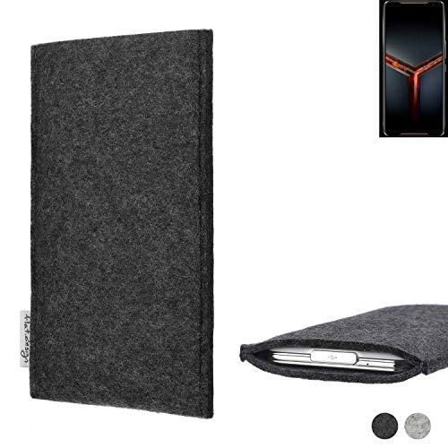 flat.design Handy Hülle Porto für Asus ROG Phone 2 handgefertigte Handytasche Filz Tasche Schutz Hülle fair dunkelgrau