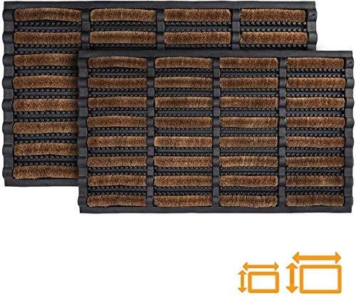 GadHome Felpudo Antideslizante Absorbente Resistente Lavable, Marrón Negra 45 x 75 cm | Alfombra de Entrada de Goma y Fibra Natural con Orificios de Drenaje para Interior y Exterior|Atrapa la Suciedad