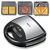 Yabano Sandwich Maker, Waffle Maker, Sandwich Grill, 3-in-1 Detachable Non-stick Coating, LED Indicator Lights, Cool Touch Handle, Anti-Skid Feet, Black