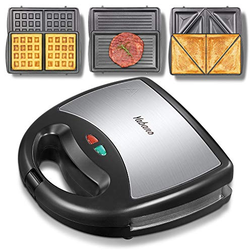 Yabano Sandwich Maker, Waffle Maker, Sandwich Grill, 3-in-1 Detachable Non-stick Coating, LED...