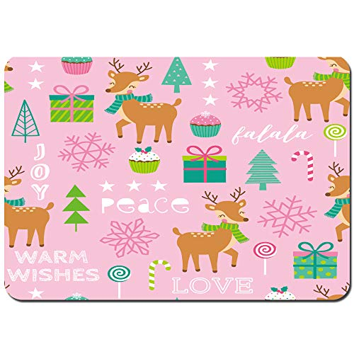 kThrones Bath Rugs and Mats,seamless cute reindeer decorative elements christmas,Non-slip Absorbent Bathroom Kitchen Runner Floor Mat Carpet 75x45cm