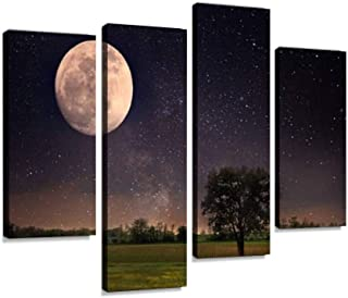 4 Panel full moon and lonely tree full moon nights and pictures Canvas Pictures Home Decor Gifts Canvas Wall Art for your ...