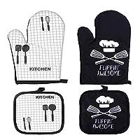 2 set guanti da forno e set di presine,guanti da forno presine, guanti da forno pad presine, per cucinare, cuocere al forno, microonde