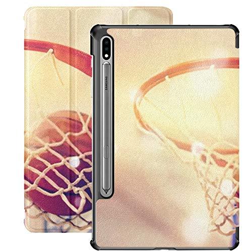 Funda para Samsung Galaxy S7 Plus con Pelota de Baloncesto Naranja Volando en un aro, Funda de Cuero PU para Samsung Galaxy Tab S7 Plus de 12,4 Pulgadas 2020, Funda para Samsung Galaxy Tab S7 Plus c