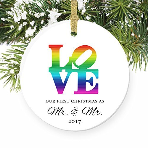 LOVE Gay Marriage 1st Xmas Gifts for Married Men First Mr & Mr. Wedding Elegant Groom Engagement Present Round Christmas Tree Hanging Ornaments Xmas Holiday Present 2018