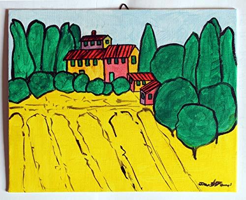 Toskanische Landschaft-Gemälde auf Leinwand mit Acryltechnik ausgeführt,Abmessungen cm 30x24x0,3 cm.Bereit, an der Wand befestigt zu werden.Unikat, handgefertigt vom Künstler David Pacini