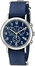 Timex Unisex TW2P71300 Weekender Chrono Blue Double-Layered Nylon Slip-Thru Strap Watch