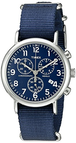 Timex Unisex TW2P71300 Weekender Chrono Blue Double-Layered Nylon Slip-Thru Strap Watch