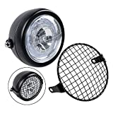 TASWK Motorcycle Retro 6.5' CREE LED Headlight + Metal Mesh Grille Cover Cafe Racer Bobber