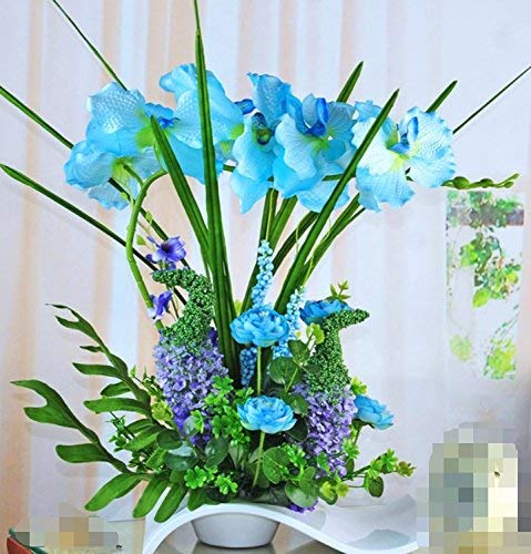GZZ Accueil Extérieur Fleurs Artificielles Salon Chambre Orchidée en Verre Bleu Vase Une Faux Fleurs Décoratives pour Fête À La Maison et Jardin Décor