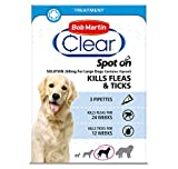Bob Martin Clear | Spot On Flea Treatment for Large Dogs (20-40 kg) | Kills Fleas, Ticks & Lice | Fast Control, 24 Week Protection (3 Pipettes)