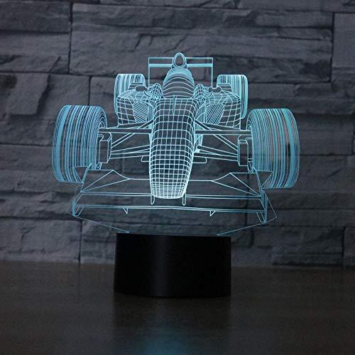 3D Ilusión óptica luz nocturna, Coche de F1 40 3D Ilusión óptica LED Lámpara, lámpara de ilusión 3D 7 colores cambian, para la familia de amigos de los niños