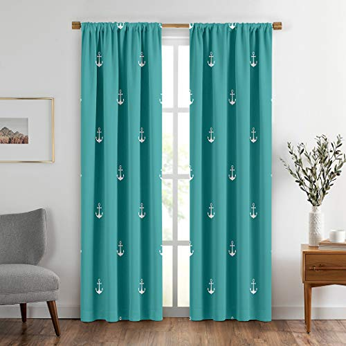 Red Curtains,Soundproof Room Darkening Curtains for Bedroom Living Room Window Drapes 2 Panel SetNavy Sequence Marine Blue Sea Diagonal White Anchor Anchored,108WX84L Inches