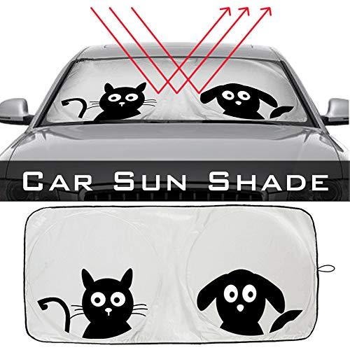 Parasol para parabrisas no superior a 59,06 x 33,46 pulgadas – Parasol para parabrisas delantero y trasero, protección UV, película reflectante
