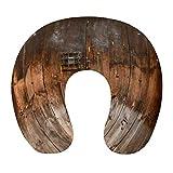 Transpirable Cómodo Estilo rústico de madera de campo Conjunto de puerta de madera de granero rústico de campo Almohada para el cuello Espuma de memoria suave Almohada de viaje en forma de U para avió