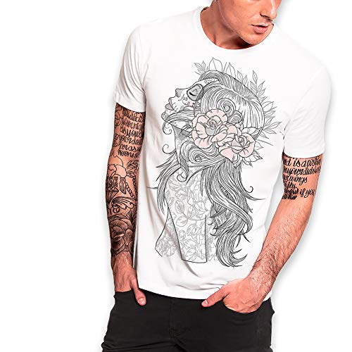 VIENTO Katrina Camiseta para Hombre (S, Blanco)