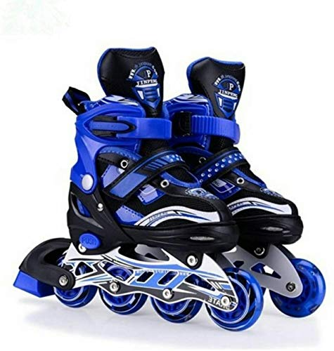 Toy Arena Inline Skates with PU Flashing Wheel Aluminum Body in-Line Skates with Adjustable Length for Age 10-16 Years (Blue)