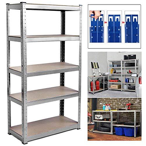 Shed Garage Shelving Unit for Storage, 180x90x40cm 5 Tier Storage Shelf Unit, Heavy Duty Metal Racking Workbench w/5 MDF Board, 875Kg Load Capacity(175Kg Per Shelf), Rubber Feet, Galvanised