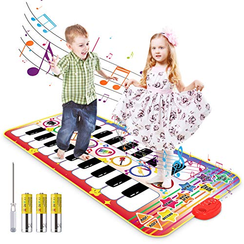 Magicfun Kids Electronic Piano Mat, Duet Musical Keyboard Toy for Boys Girls Toddler, Double-Way Dance Learn Pad with 8 Instrument Sounds, Early Education Playmat Birthday (55.1x27.5 in)