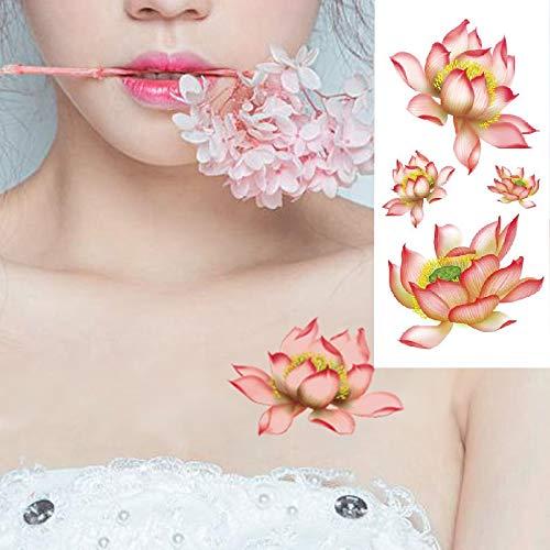tzxdbh 5pcs Autocollant de Tatouage temporaire coloré Design Fleur de Lotus Femmes épaule Body Art Transfert de l'eau Autocollant de Tatouage