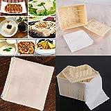 Moules à tofu - Moule à tofu - Kit de presse à fromage - Pour presser le soja - Boîte : 14 x 11 x 9,5 cm - Tissu : 40 x 40 cm