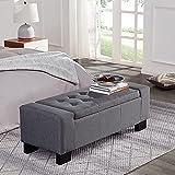 BELLEZE 50' Rectangular Fabric Tufted Storage Ottoman Bench, Large, Slate Grey