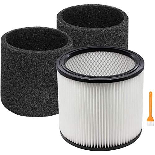 Deesen Reemplazo de Filtro 90304 90350 90333 Compatible para Aspiradoras en Seco/HúMedo de 5 Galones para Arriba, 1 Filtro + 2 Espuma