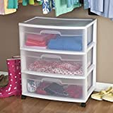 Sterilite 29308001 Wide 3 Drawer Cart, White Frame with Clear Drawers and Black Casters,...
