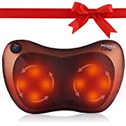 Back Massager Pampering Massage Pillow with Heat | Fits car office chair or home seat | Back Pain Relief Neck pad Shoulders deep kneading muscles Shiatsu cushion | Massager Self-use for pressure point