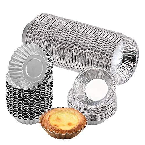 Gukasxi 150 Stücke Ei Torte Form aus Aluminum Foil, Einweg Egg Tart Mold Kuchen Backen Formen, Cupcake Kuchenform Eierkuchenform Pudding Formen, Küche Backen Werkzeuge