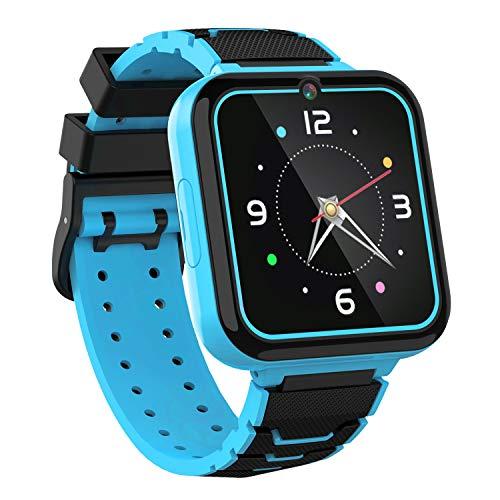 Reloj Inteligente para Niños Smartwatch Teléfono-Pantalla Táctil HD con Música Juego Linterna Llamar SOS Cámara Despertador Juguetes de Aprendizaje Niños Regalo con Ranura para Tarjeta SIM (Azul)
