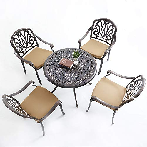 XICA Outdoor Furniture Patio Dining Table Chair Sets 5-Piece Cast Aluminum Garden Furniture with Cushions-Chairs Umbrella Hole Bronze