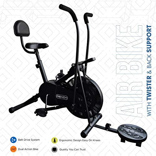 Reach Ab-110 Air Bike Exercise Fitness Gym Cycle with Moving/Stationary Handle Adjustment with Back...