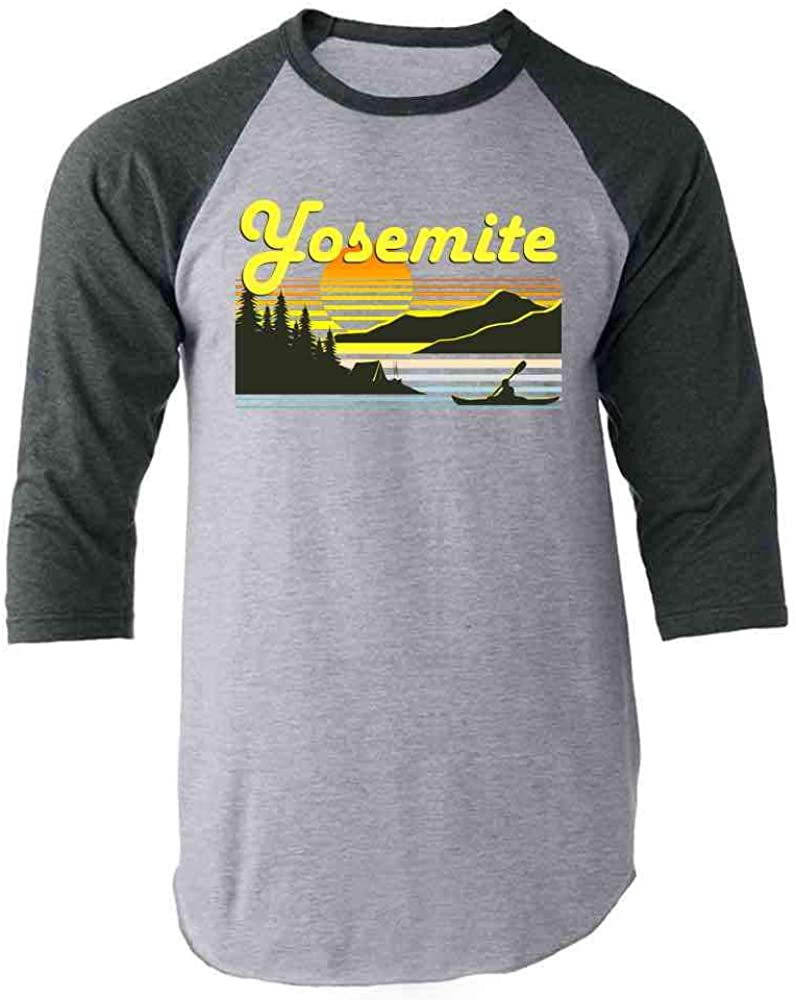 Pop Threads Yosemite Retro Travel Raglan Baseball Tee Shirt