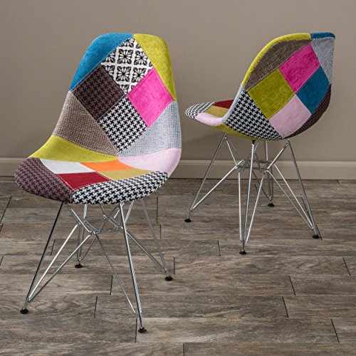 Christopher Knight Home Wilmette Fabric Chair with Chromed Legs, Patchwork