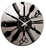 Instant Karma Clocks Instant Karma Reloj de Vinilo Doble de Pared Disco-Argento-Vintage Handmade Barber Shop barbería peluquería Barba cabellos, silencioso