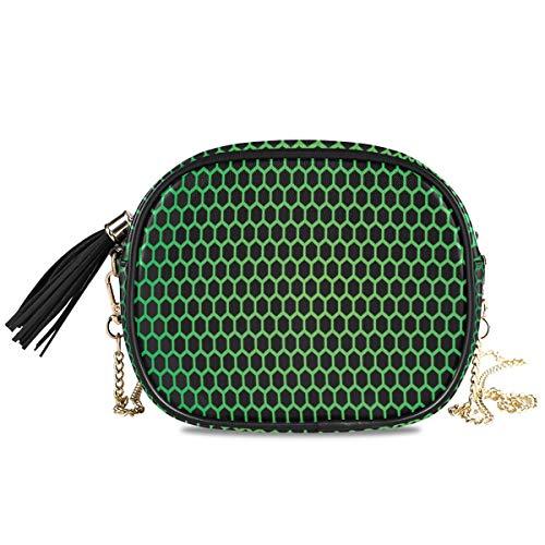 NIESIKKLA レディース チェーンバッグ、おしゃれ ミニ グ ショルダーバッグ シンプル 合わせやすい 多機能 、ポリゴンテクノロジーをテーマにしたグリッドメッシュタイルを使用した幾何学的なハニカムパターン