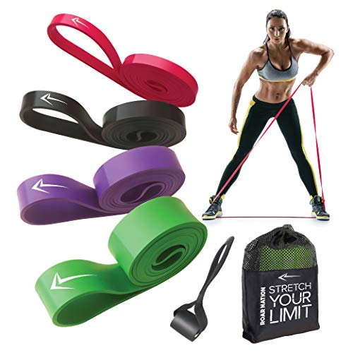 Roar Nation Pull Up Assist Bands (Set of 4 )- Heavy Duty Resistance Bands, Chin up Assist Band, Powerlifting Band, Stretching Mobility Band, Elastic Exercise Band