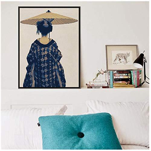 woplmh Boho Chic vrouwen Foto Schilderen Wandkunst Canvas Poster Kimono Kunst Blauw en Beige Bed afdrukken Boheemse Slaapkamer Wooncultuur -60x80cm (geen lijst)
