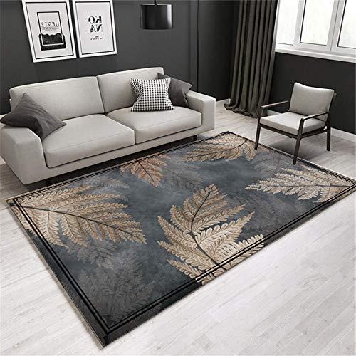 La alfombras decoración Salon Moderno Alfombra Resistente a la Suciedad de la Sala de Estar con patrón de Hojas de Graffiti de Tinta marrón Gris alfombras para Dormitorio Alfombra Oficina 60*90cm