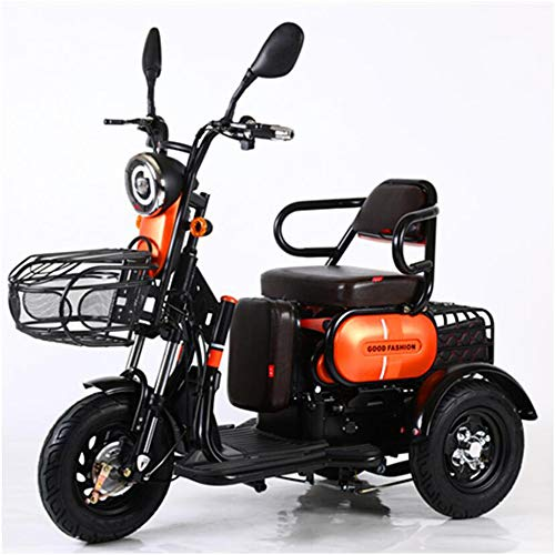 AA100 Elektro 3 Rad Fahrrad Doppel Single Senioren Outdoor Reise Mobil Roller 48V20A Lithium Batterie + Fernschlüssel Alarm,Orange